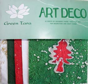20 A5 Sheets Art Deco Papers Xmas Green