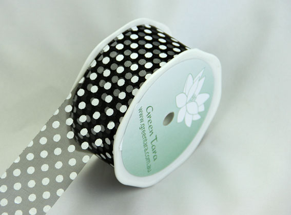 38mm Polka Dot Organza 20m Roll Black
