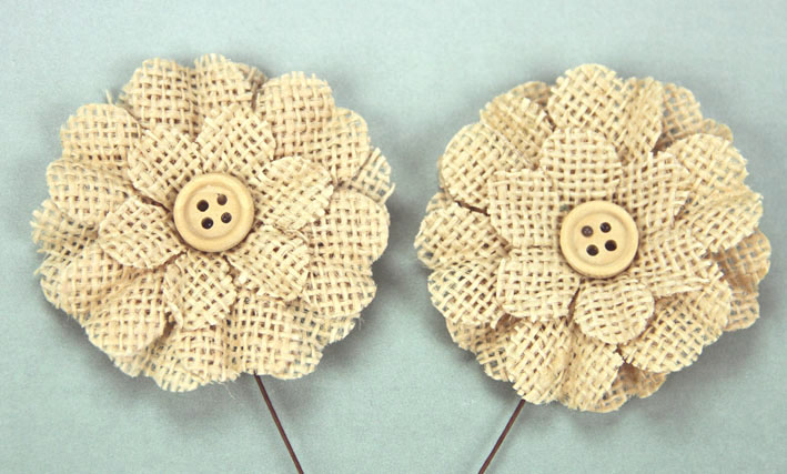 5cm Burlap Flower with Button 12 pcs Natural