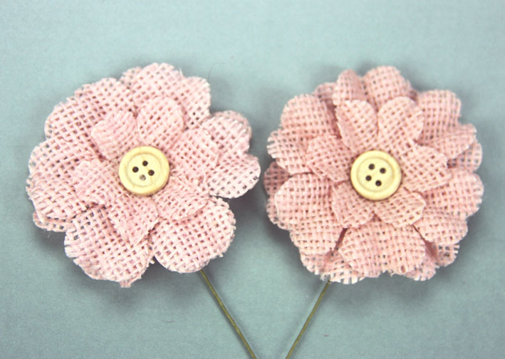 5cm Burlap Flower with Button 12 pcs  Pale Pink