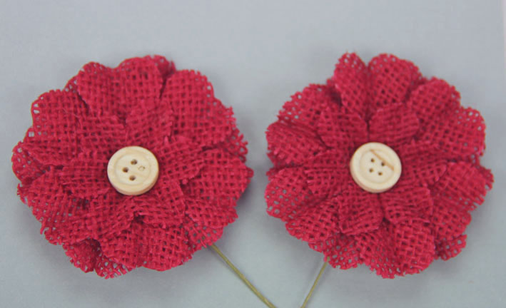 5cm Burlap Flower with Button 12 pcs Red