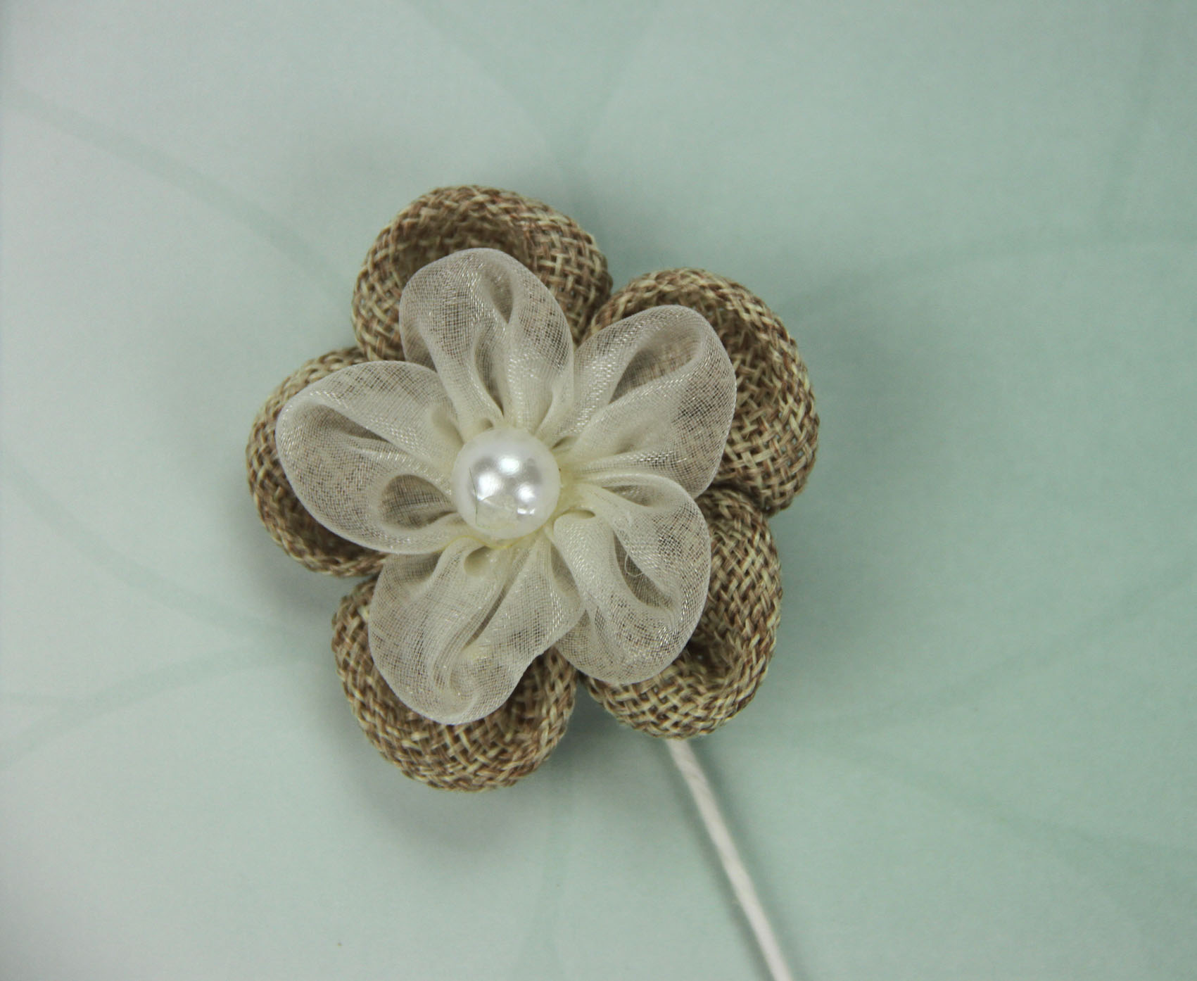 5cm Burlap/Organza Daisy with Pearl Retail Pack