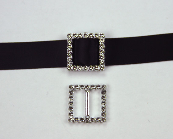 Acrylic Silver Buckle Square 2.2cm Pack of 25.