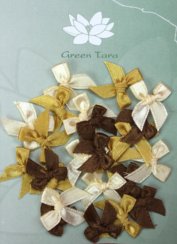 Pack of assorted 2cm Bows Cream/Brown