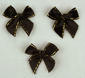 Pack of 100 2.5 cm Bows. Black and Gold.