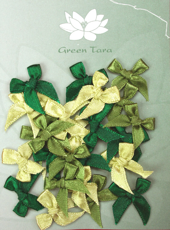 Pack of assorted 2cm Bows Greens