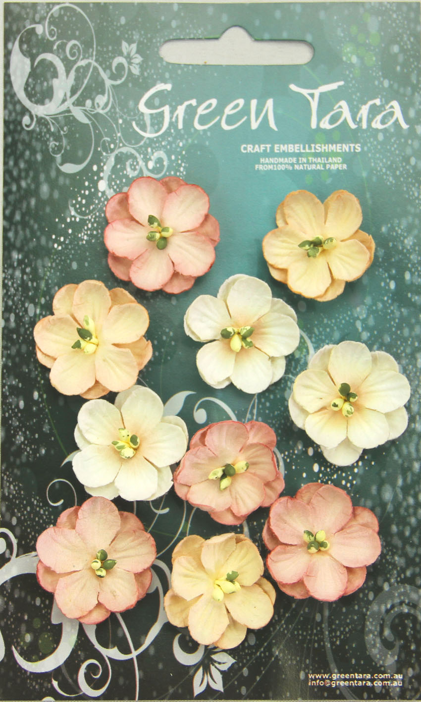 Pack 10 Cherry Blossoms, Beige Tones 28mm