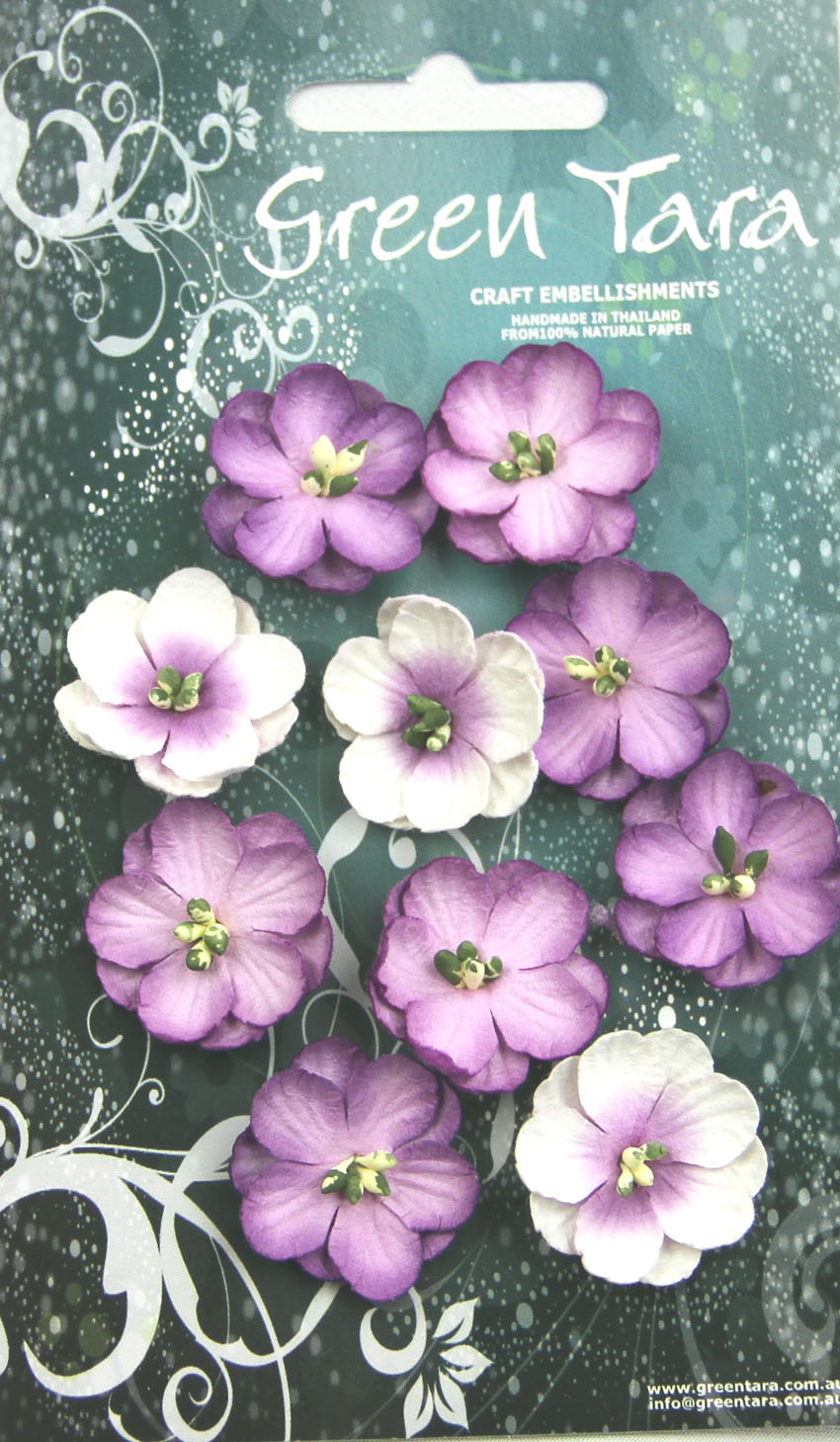 Pack 10 Cherry Blossoms, Lavender Tones 28mm