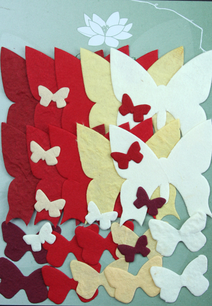 30 Die Cuts Butterflies, Red assorted sizes