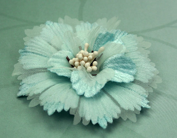 Damask 8cm Fabric and Organza Flower Aqua 12 pcs