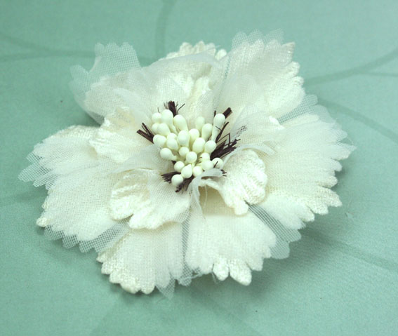 Damask 8cm Fabric and Organza Flower Ivory 12 pcs