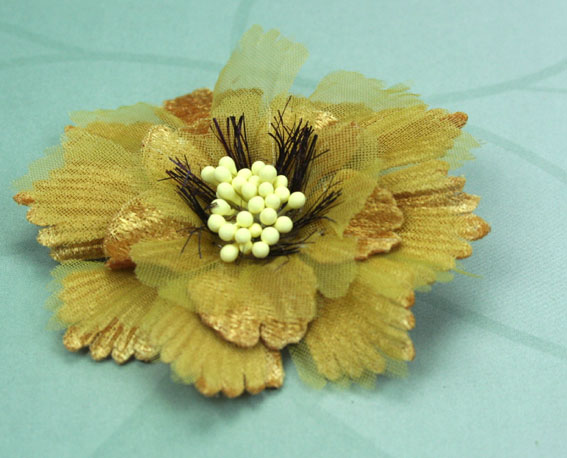 Damask 8cm Fabric and Organza Flower Mustard 12 pcs