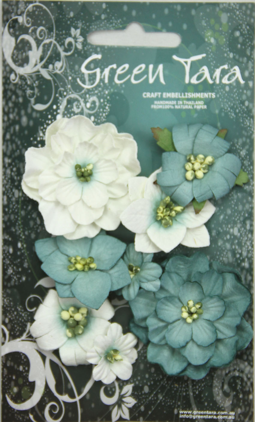 Fantasy Blooms - Pack of 8 Co-ordinated Flowers, BLUE