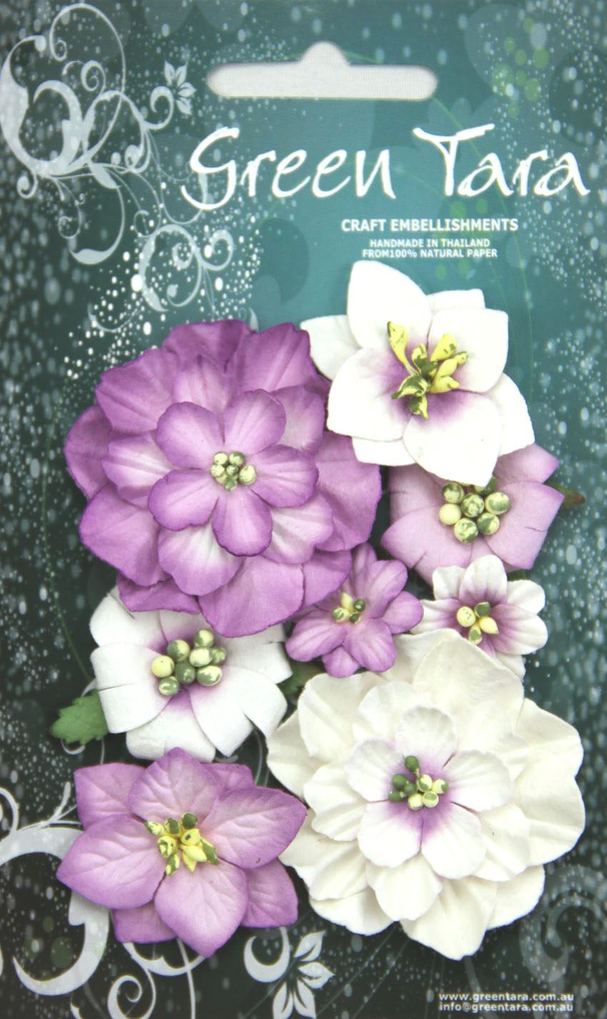 Fantasy Blooms - Pack of 8 Co-ordinated Flowers, LAVENDER