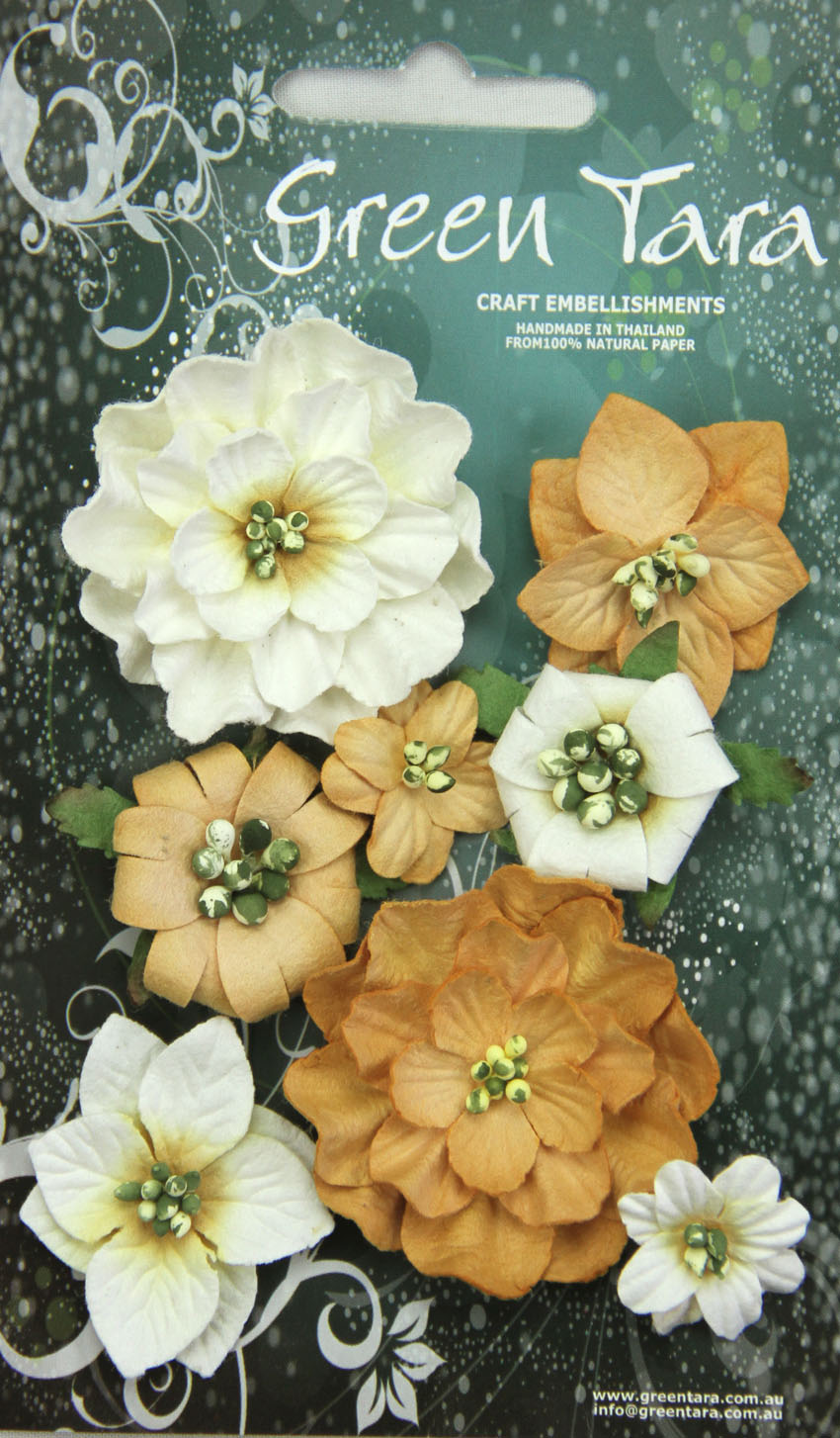 Fantasy Blooms - Pack of 8 Co-ordinated Flowers, OCHRE
