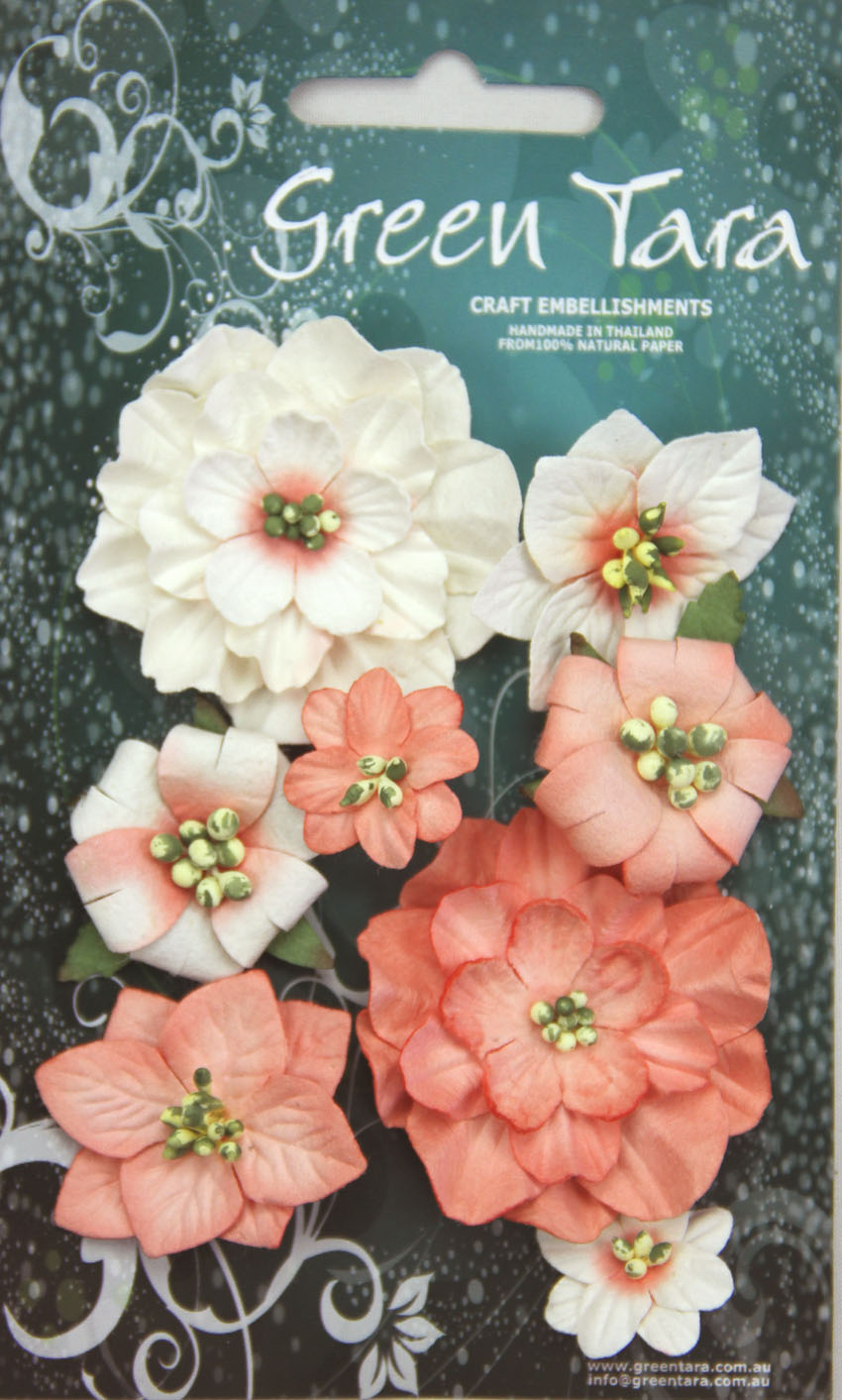 Fantasy Blooms - Pack of 8 Co-ordinated Flowers, PEACH