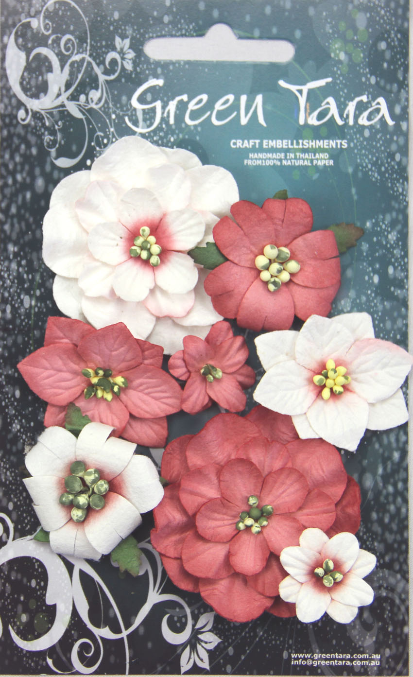 Fantasy Blooms - Pack of 8 Co-ordinated Flowers, RED