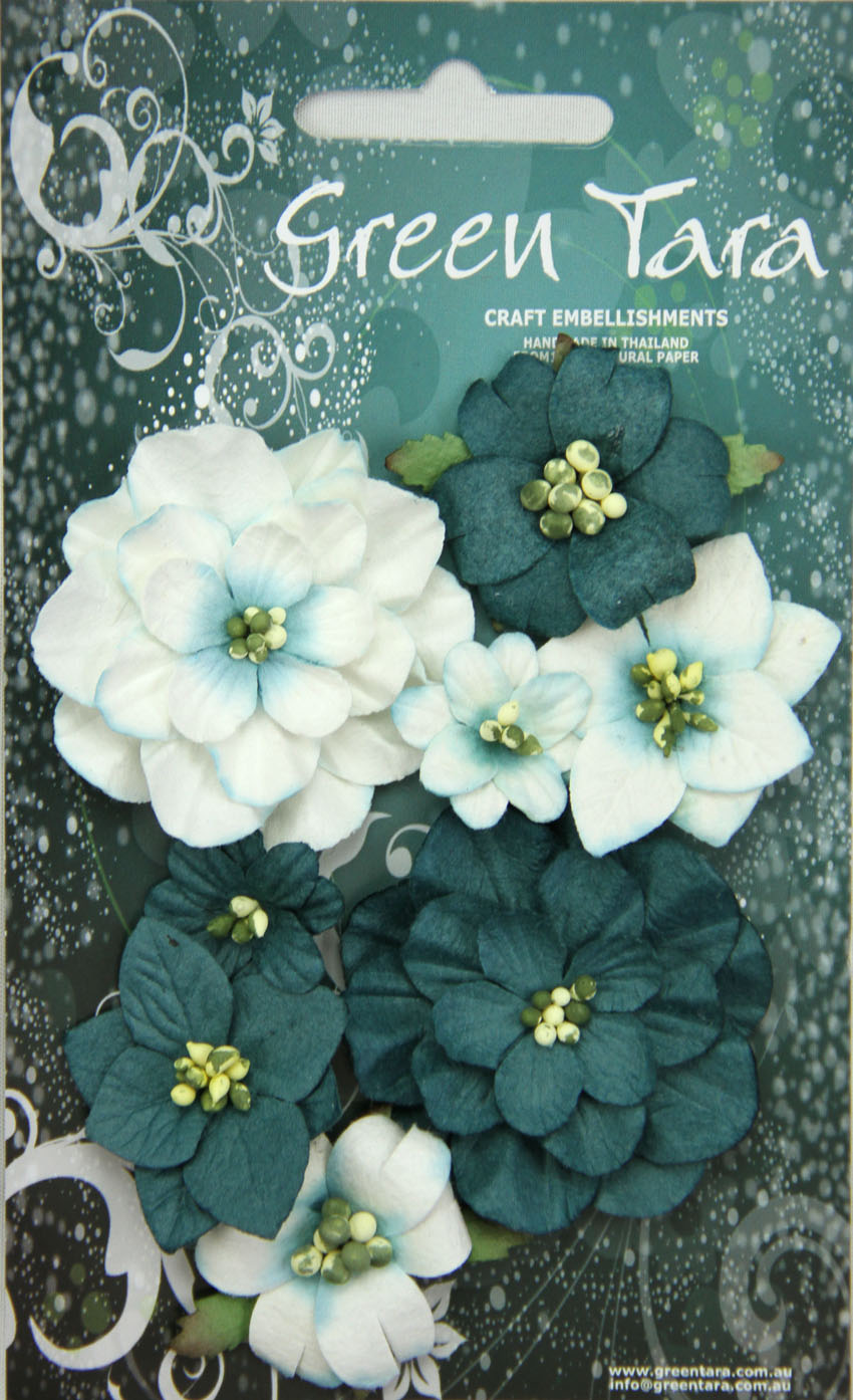 Fantasy Blooms - Pack of 8 Co-ordinated Flowers, TEAL
