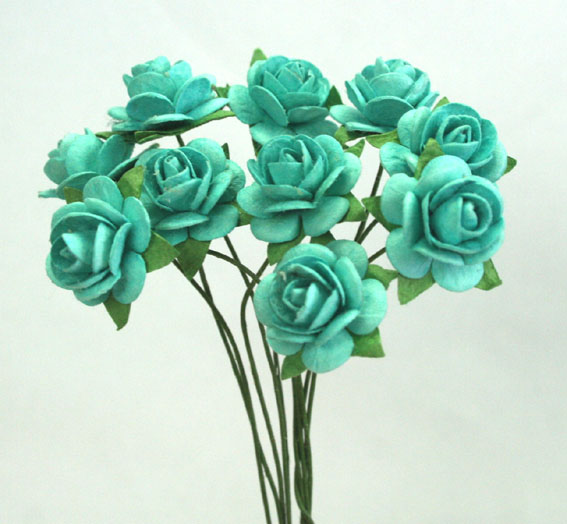100 Roses 1.5cm Turquoise