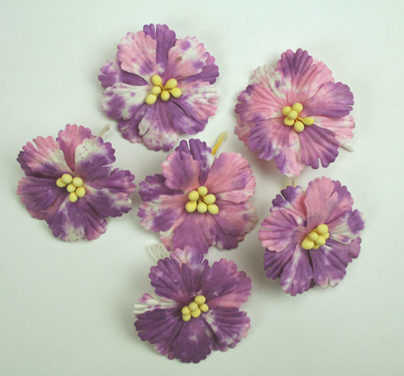 Pack of 100 Hibiscus Flowers, Batik lavender