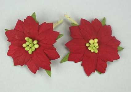 100 Medium Red Poinsettias 4cm Green Centres