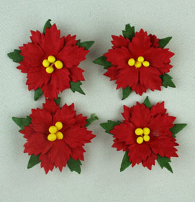 100 Small Red Poinsettias 2.5cm  - Yellow Centres