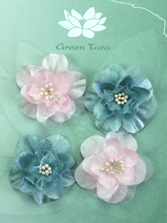 Fabric Flowers Heirloom Small Grey Blue/Pale Pink Pack