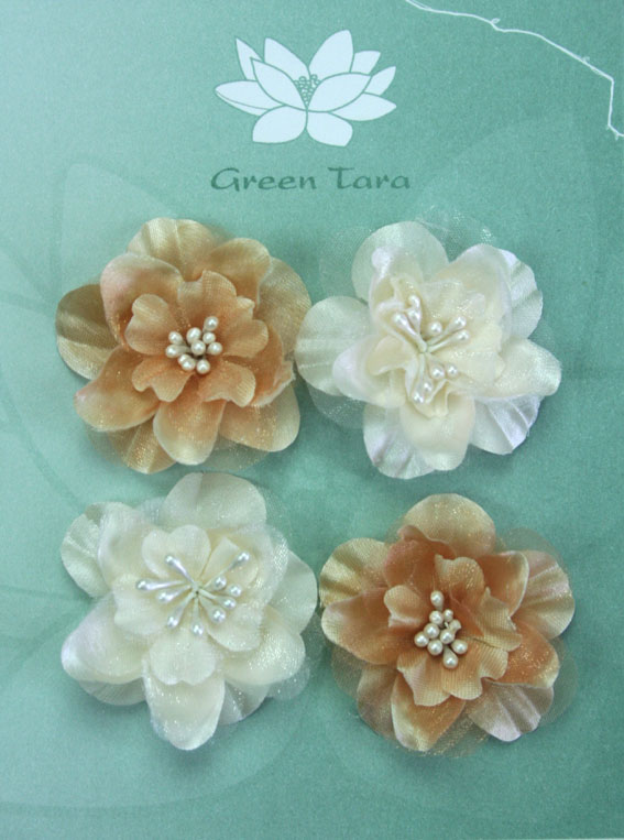 Fabric Flowers Heirloom Small Ivory/Latte Pack