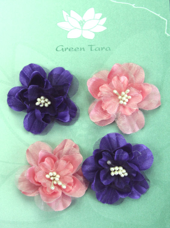 Fabric Flowers Heirloom Small Purple/Dusky Pink Pack