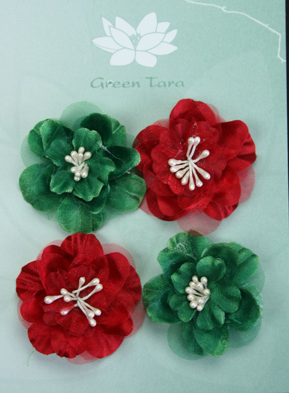 Fabric Flowers Heirloom Small Red/Green Pack