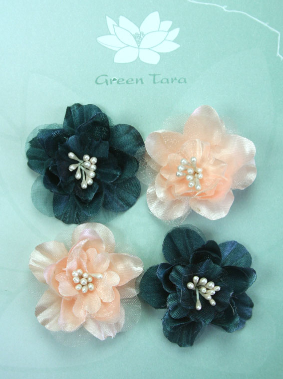 Fabric Flowers Heirloom Small Teal/Peach Pack