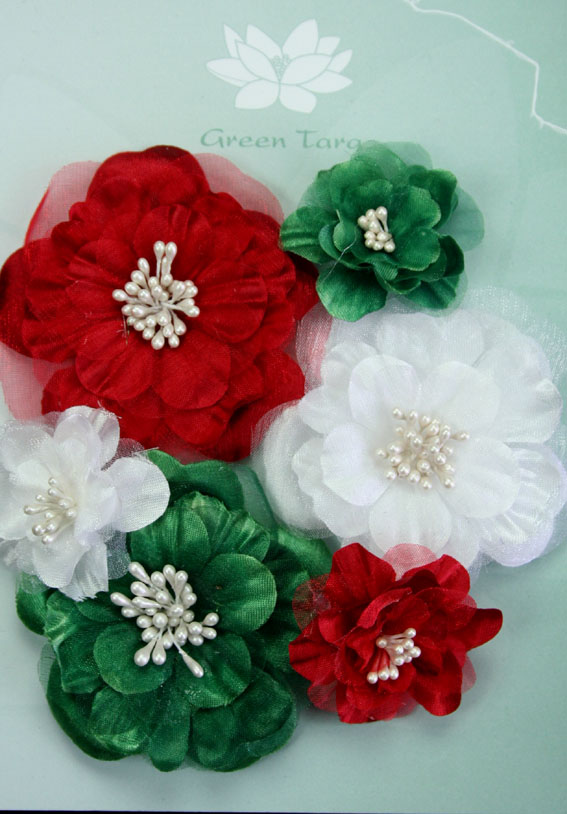 Fabric Flowers Heirloom Xmas Pack