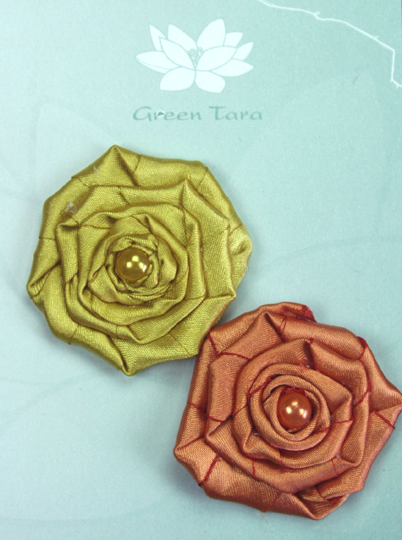 Fabric Flowers Satin Rosette Yellow Ochre/Burnt Orange Pack