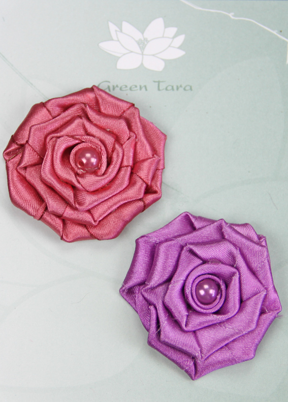 Fabric Flowers Satin Rosette Amethyst/Rose Pack
