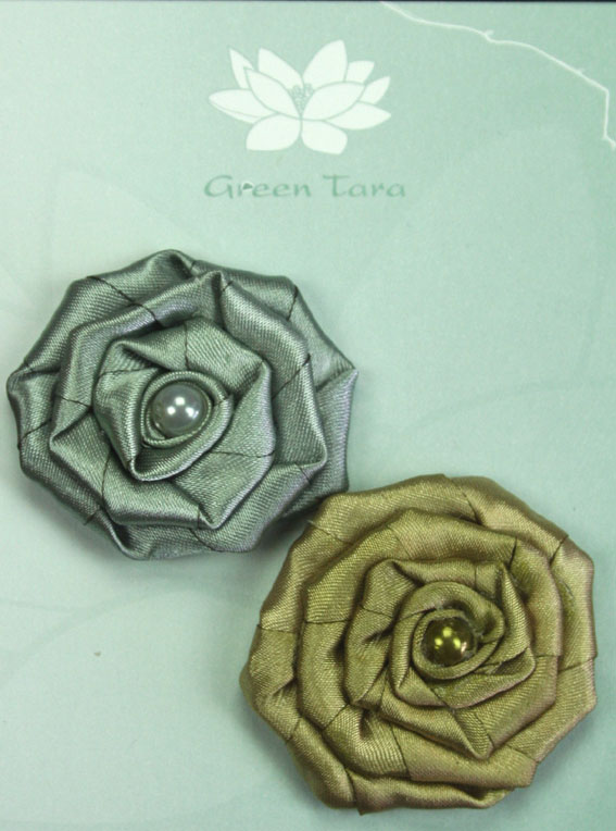 Fabric Flowers Satin Rosette Olive/Sage Pack