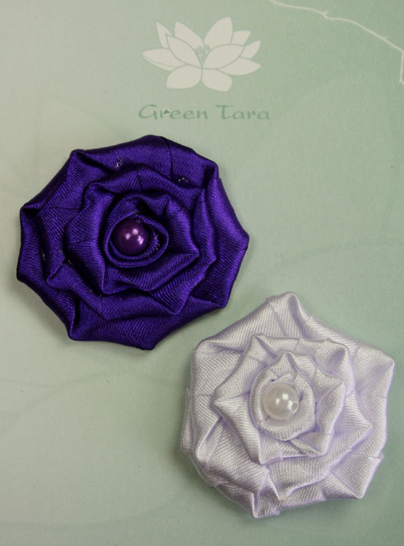 Fabric Flowers Satin Rosette Purple/White Pack
