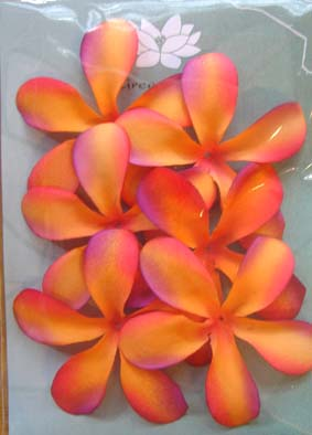Pack of 6 Orange and Purple Frangipanis, 7cm