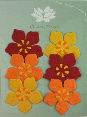 "6 Flowers ""Periwinkle"" Yellow/Red"