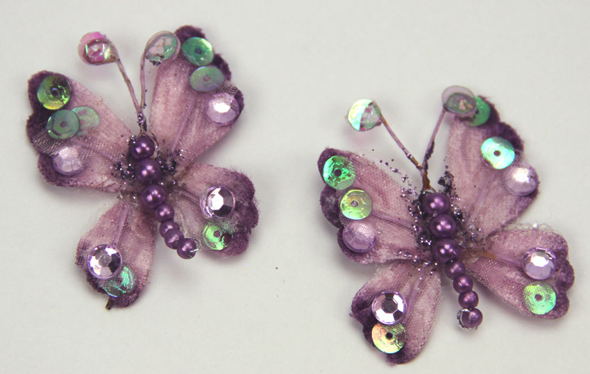 10 Rain Forest Velvet and Organza Butterfly 3cm Lavender