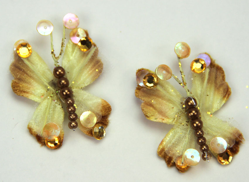 10 Rain Forest Velvet and Organza Butterfly 3cm Bronze