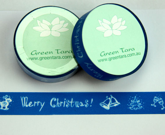 Washi Tape 15mm x 10m roll Blue Merry Christmas