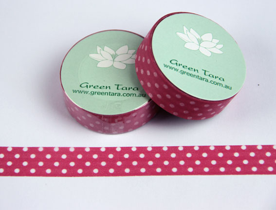 Washi Tape 15mm x 10m roll Hot Pink/White Polka Dots