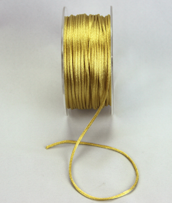 2mm Satin Rat Tail Cord 50m roll Gold