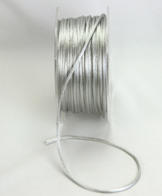 2mm Satin Rat Tail Cord 50m roll Silver Grey