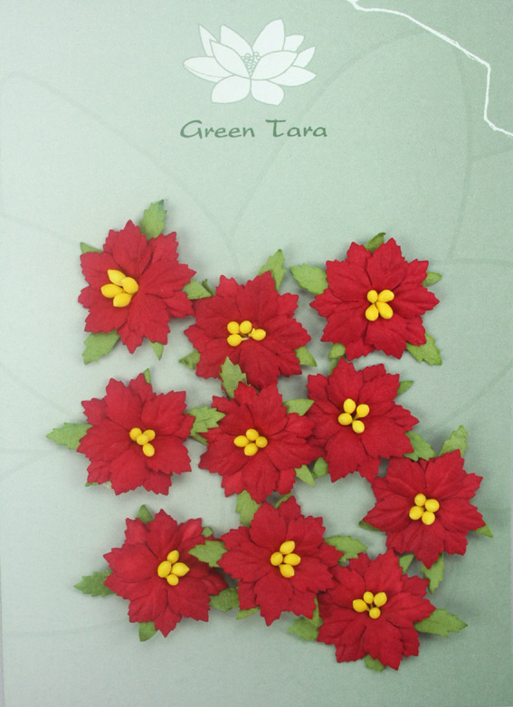 10 Small Red Poinsettias. Diameter 2.5 cm