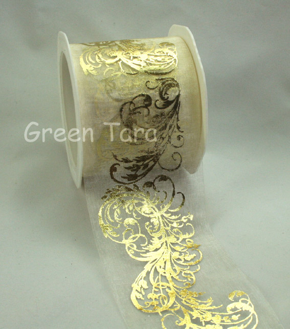 70mm Organza Metallic Flourish Ivory/Gold 10m