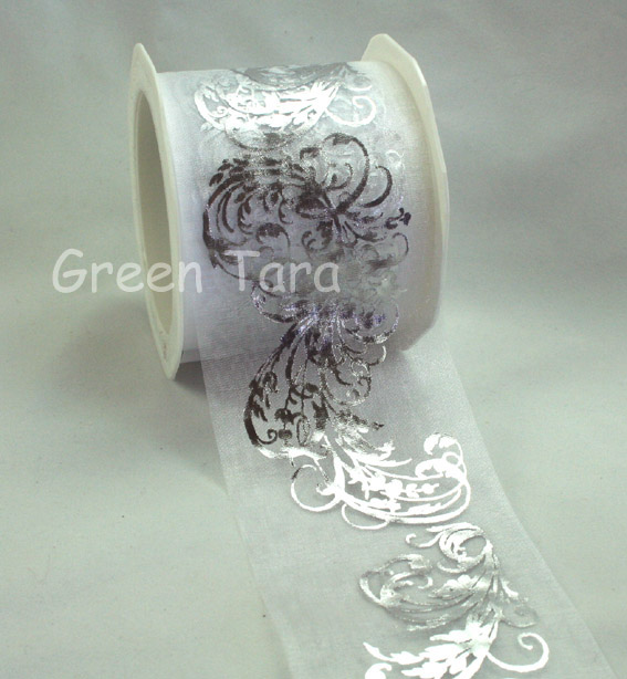 70mm Organza Metallic Flourish White/Sliver 10m