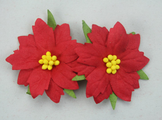 100 Medium Red Poinsettias 4cm Yellow Centres