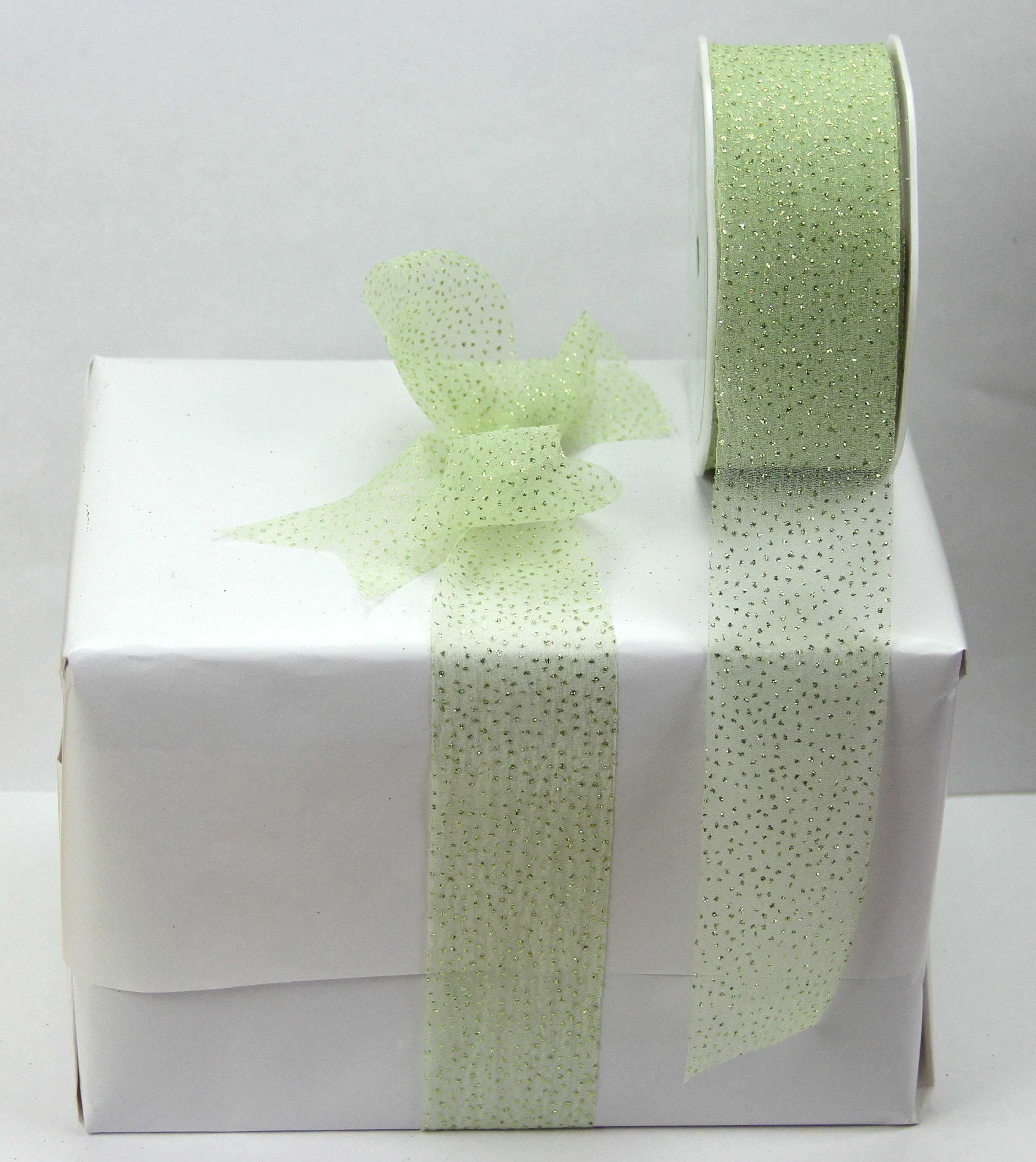 38mm Sparkle Organza Ribbon 20 Metres, Green