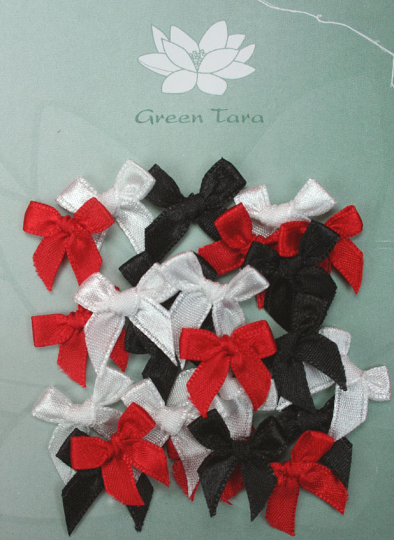 Pack of assorted 2cm Bows Red/Black/White